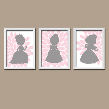 Princess Pink Gray Nursery Wall Art Canvas Artwork Custom Colors Flower Petals Set of 3 Prints Decor Bedroom Crib Baby Three