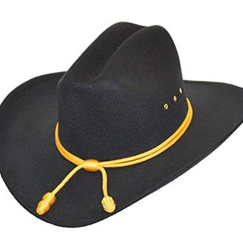 Western Cowboy Hat - Cattleman's with Cavalry Band - Black (Small/Medium)
