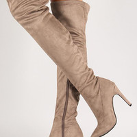 Faux Suede Stiletto Thigh High Boot