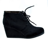 Rex Black By Soda, lace up oxford ankle bootie round toe high hidden wedge heel women's shoe