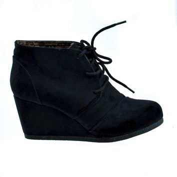 44a273613138f Rex Black By Soda, lace up oxford ankle bootie round toe high hidden wedge  heel women'