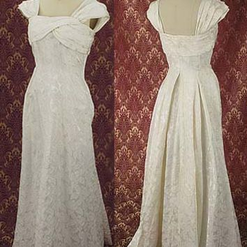 Authentic 1940s Ivory Damask Wedding Dress