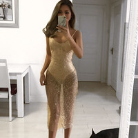 Glitter Babe Gold Sheer Slit Dress