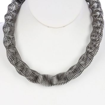 Hematite Twisted Coil Wire Spring Bib Necklace