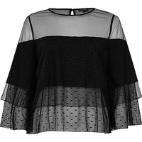 Black mesh layered frill top - blouses - tops - women