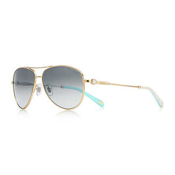 Tiffany & Co. - Ziegfeld Collection aviator sunglasses in pale gold-colored metal and acetate.