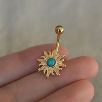 opal bellyring,belly button rings,sun belly ring,opal belly button jewelry,grilfriend gift