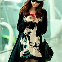 Personality skeleton head  long-sleeved T-shirt   FSTX187