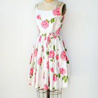 vintage 1950s pink roses party sundress [Strewn Roses Dress] - $168.00 : ADORED | VINTAGE, Vintage Clothing Online Store