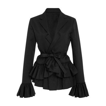 Gothic Coat Black Falbala Pleated Patchwork Outerwear Slim Lace-Up Bowknot