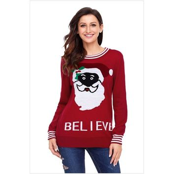 COCKATOO 2018 Ugly Christmas Sweater Women Fashion Xmas Plus Size Printed Santa Claus Keep Warm Winter Pullover Knitted Sweaters