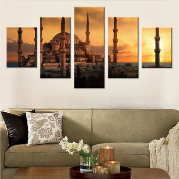 Twilight Under The Mosque Canvas Set Art Painting Wall Pictures for Bedroom Modular Pictures for Wall Decoration Drop Shipping