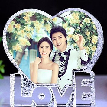 Heart Crystal Wedding Photo Frame
