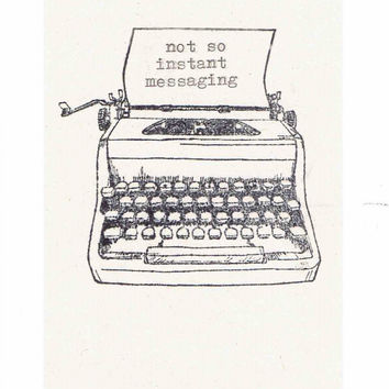 Not So Instant Messaging Card | Funny Typewriter Vintage Hipster Hand Typed Hello Snail Mail Stationery Pen Pal Men Women