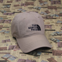 The North Face Embroidered Beige Cotton Baseball Cap Hats