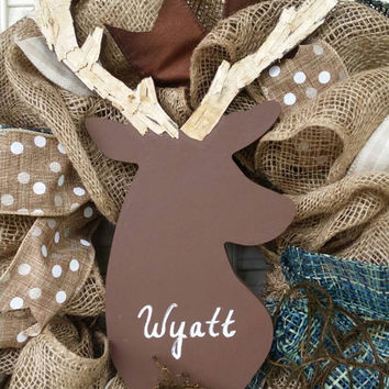 Deer Nursery Decor Burlap Deer Wreath Rustic Nursery Woodland Burlap Wreath Baby Boy Shower Burlap Winter Wreath Baby Boy Decor Birchbark
