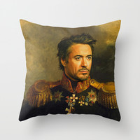 Robert Downey Jr. - replaceface Throw Pillow by Replaceface