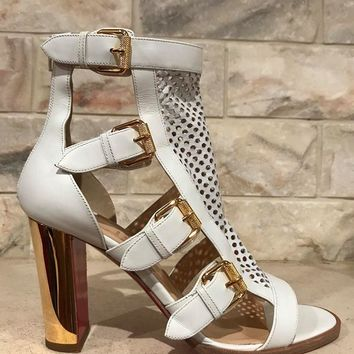 NIB Christian Louboutin Fencing 85 White Gold Leather Boot Heel Pump 35 $1195