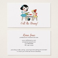 Whimsical Retro Child Dog Call The Nanny Business Card