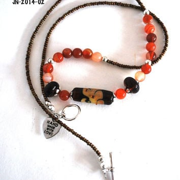 On Sale Brown and Orange Lampwork Bead Necklace with Agates