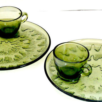 Set of two vintage tea and toast platters snack sets retro antique green glass teacup and plates set