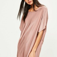 Missguided - Pink Oversized Slinky Dress