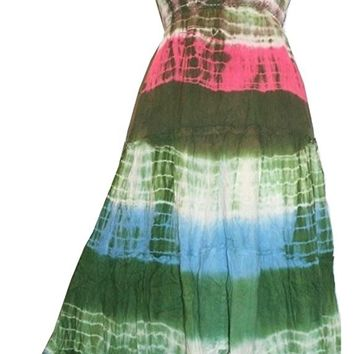 Tie Dye Fairy Gypsy Peasant Spaghetti Strap Dress