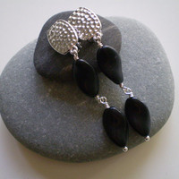 Matte Black Vintage German Glass Beads & Hammered Pewter Clip on Earrings, OOAK,  Black Clip On Earrings
