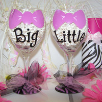 Big & Little Pink Bow Hand Painted Wine Glasses Pink Bow Painted Wine Glass Set of 2