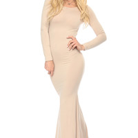 Nude Diamond Cut Mermaid Maxi Dress