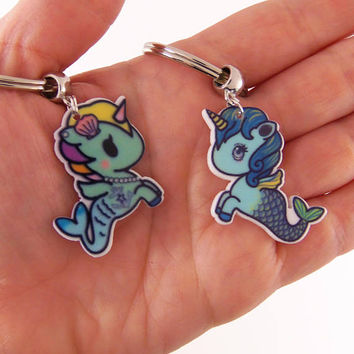 Mermaid birthday party favors, unicorn birthday party favor, unicorn mermaid keychain, mermaid key chain, unicorn key chain, pony party gift