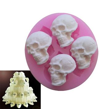 3D Skull Head Molds Embossed Silicone Baking Decorating Tools