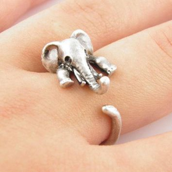 PEAPON Vintage Retro Cute Elephant Ring +Gift Box
