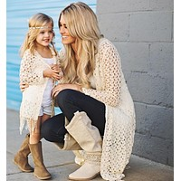 Mother and daughter clothes summer mommy and me clothes tassel jacket + vest 2pcs family matching outfits