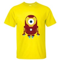 CRAZY POMELO Funny Cartoon Minions & Iron Man Print Short-sleeved Men's T-shirt Yellow - XL