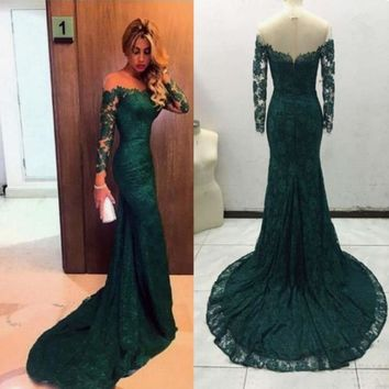 Long sleeves Dark Green Lace Prom Dress, Lace Green Evening dresses
