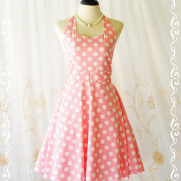 My Lady IV - Pink Dress White Polka Dot Sundress Spring Summer Sundress Pink Halter Dress Party Dress Pink Bridesmaid Dress XS-XL Custom
