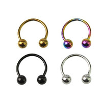 "(8pcs) Horseshoe Circular Assorted Color Titanium Anodized Over 316l Surgical Steel 18g 5/16""(8mm) Length 3mm Balls Septum Rings Body Jewelry"
