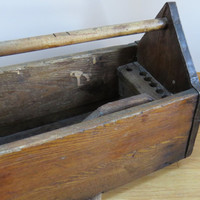 Antique Handmade Primitive Wood and Metal Carpenter's Toolbox