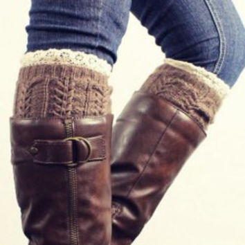 Brown Lace Knitted Boot Cuffs