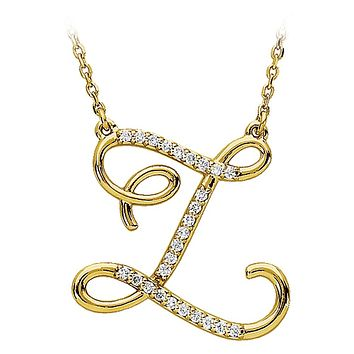 1/8 G-H, I1 Diamond Script initial Z 14k Yellow Gold 17 Inch Necklace