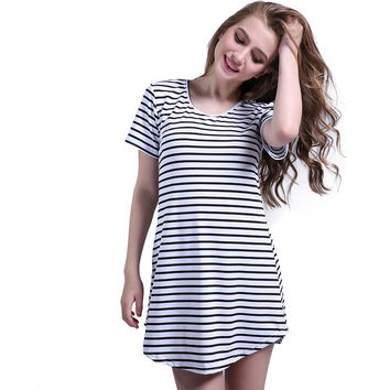 2016 Black White Elegant Women Shirt Dress Top Tee Summer Short Sleeve Stripes Loose Casual Jersey Mini Shift Dresses Shirt