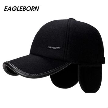 EAGLEBORN Brand New 2018 High Quality Baseball Cap Winter Hat Fashion Hats & Caps Men Thick warm earmuffs Snapback Winter Cap