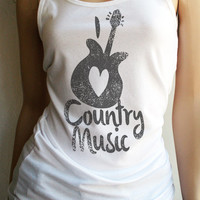 I Love Country Music form fitting Tank Top - FREE SHIPPING in the USA