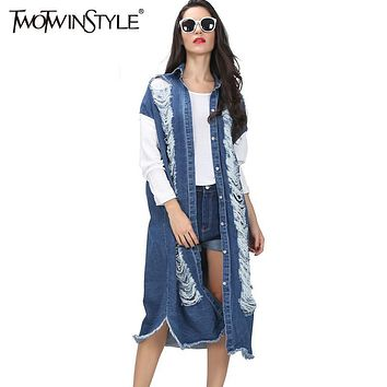 [TWOTWINSTYLE] spring streetwear long denim trench coat for women hollow out ripped vintage long sleeve windbreaker new clothing