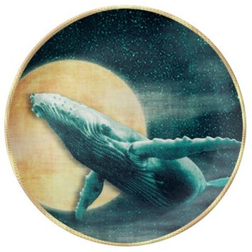 Humpback Whale Flying to The Moon Decorative Plate