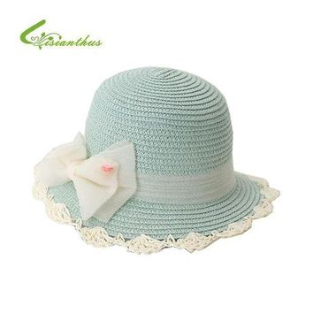 CREY78W 2017 Summer Children Sun Hat Bow Wide Brim Floppy Panama b4f01402829f