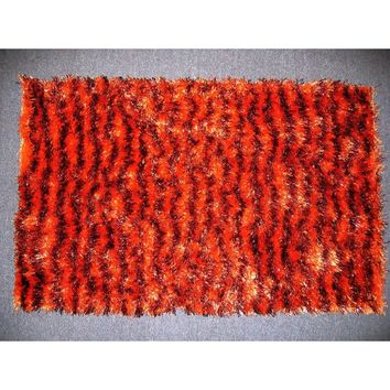 "Shaggy Plush Soft Spooky Halloween Holiday Carpet Door Mat Stripe Orange and Brown Print Motif Decor - 20"" x 32"""