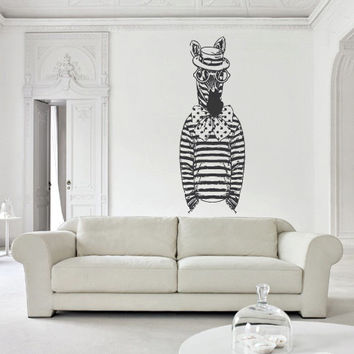 Wall Decal Mural Sticker Art Fashion Fashionable Animal Zebra Horse Glasses Retro Glasses Hipster Modern Fun (z2662)