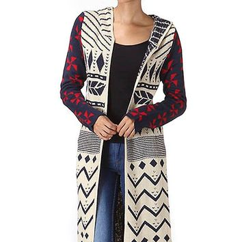 Ivory Red Tribal Aztec Open Front Hooded Fashion Cardigan Sweater